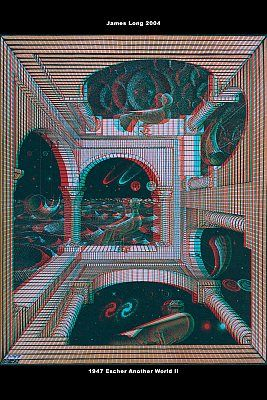 ♥ 1947 M. C. Escher Another World II - anaglyph version, put on your red /blue glasses and view more cool optic photos here