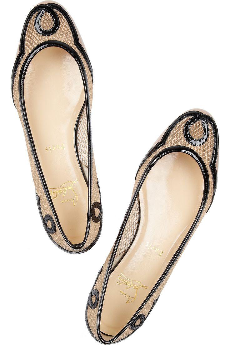 Christian Louboutin - almost look art nouveau: Leather Flats, Louboutin Flats, Louboutin Ladies, Patent Leather, Fashion Shoes, Mesh Ballet, Christian Louboutin, Flats Shoes Elegant, Leather Ballet Flats