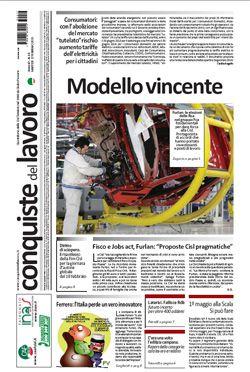 La prima pagina di Conquiste del Lavoro del 17 febbraio 2015