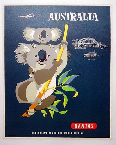 Qantas Australia travel poster