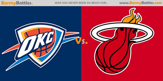 Thunder Vs Heat. The duel between the two best players in the NBA of this time period continues and is at its peak right now. #miami #oklahoma #okc #heat #thunder #nba CLICK HERE TO VOTE: http://www.barmybattles.com/2014/02/06/thunder-vs-heat/