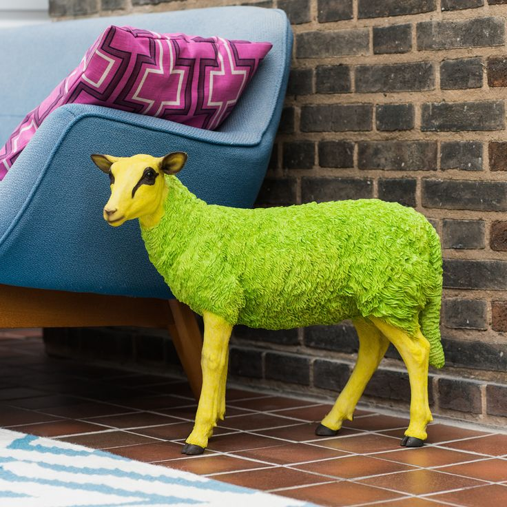 Bring some tongue in cheek fun in to your home or office space with this Pop Art inspired sheep figurine Available in bright blue or green, this life-sized statement piece definitely won't go unnoticed! Perfect to team with other colour pop pieces to create a bold room This and many other I Love Retro decorative pieces can be found in this years Celebrity Big Brother House. Remember to check out our website to add some Celebrity Big Brother inspired style to your home. Beware, this loo...