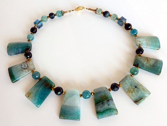 Chunky green agate necklace by anabelbijou on Etsy
