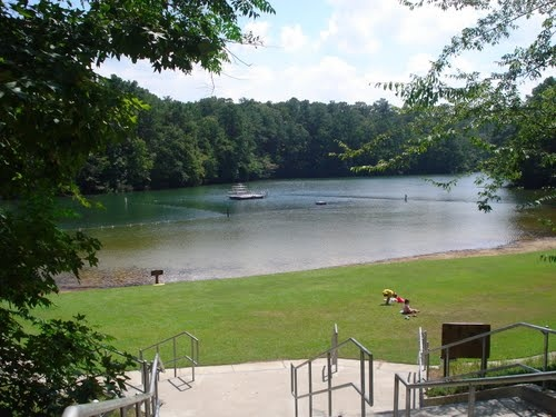 Cliffs of the Neuse State Park - Seven Springs, NC. This is the Swimming Lake. There is a platform in the middle for jumping/diving, or just to sit a spell.