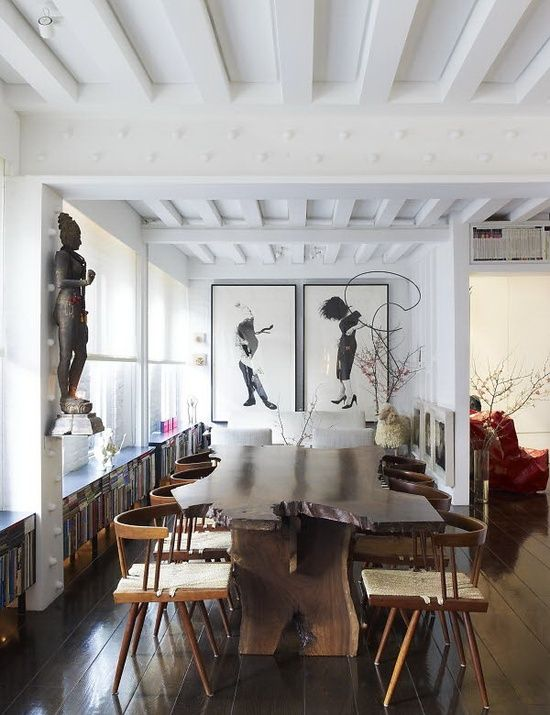 Love this dining room! Look at that table!!! via La Boheme