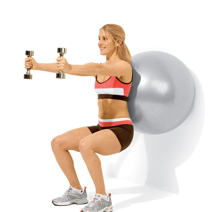 Exercise ball & a wall with arm raises and squats — ARMS, SHOULDERS, CORE, LEGS {My PT had me do these after a car accident and holy cow are they effective. Great for maintaining proper posture too!} — 1.Plié Squat — 2.Static Squat with Front Raise (shown) — 3.Wall Crunch & Twist