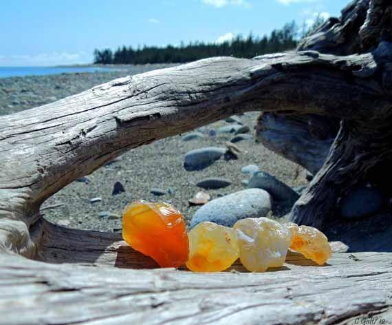 Orange Sea Glass, Haida Gwaii, British Columbia, Canada