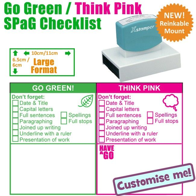 Teacher stamp large go green think pink spag ks 1 literacy checklist and