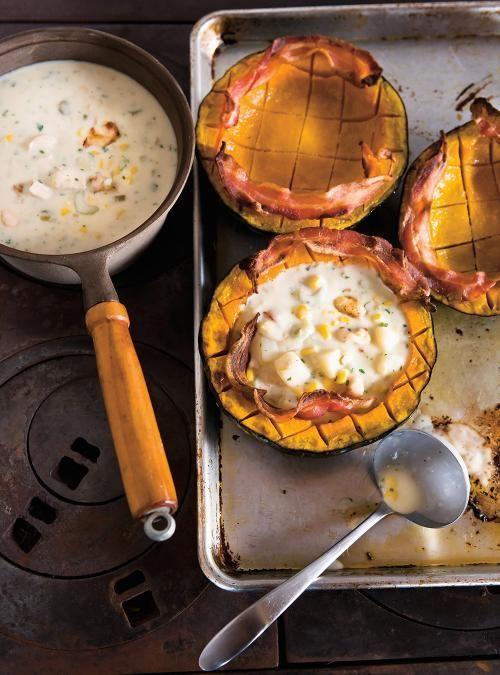 Chaudrée de poulet et de maïs en courge Buttercup