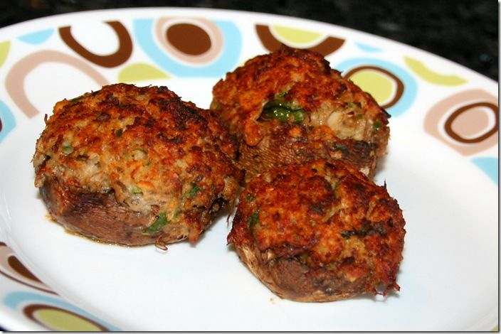 Crab Cake Stuffed Mushrooms  These are better than your usual crab cakes as they're a perfect appetizer that you can eat with your fingers and they're not fried.