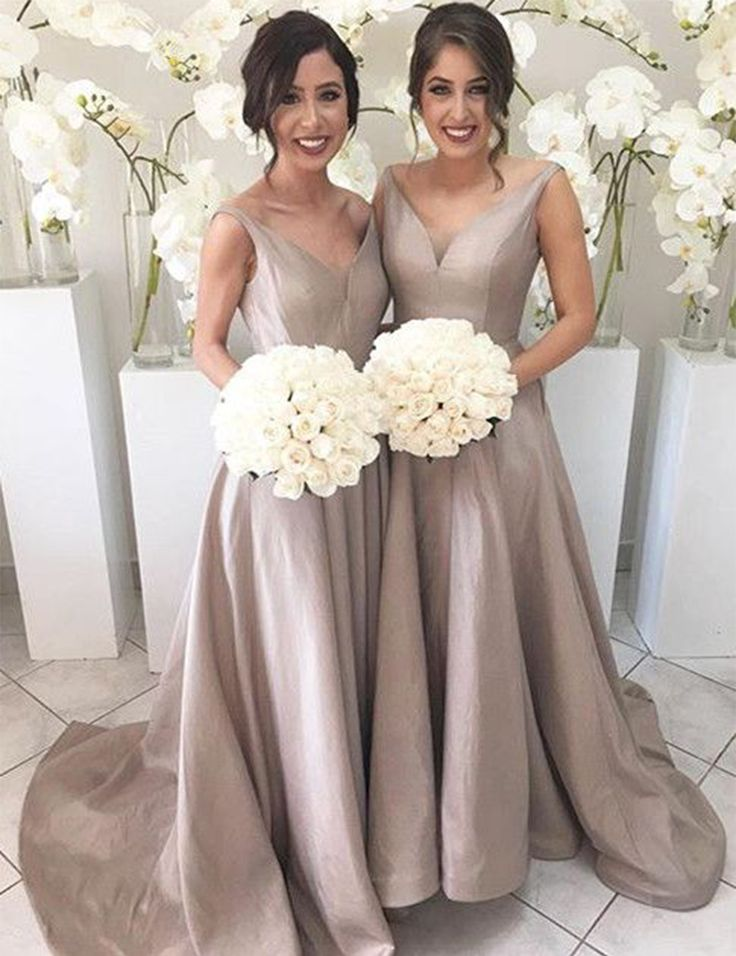 Love the Fashion Women Champagne Bridesmaid Dresses Sexy V Neck Satin Bridesmaid Dress Long Wedding Party Dress Formal Gowns Online Shop For U !