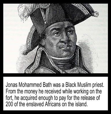 "As a Muslim priest, he had a certain amount of influence over his fellow Muslims working on the construction of the fort, so he was appointed as an overseer or ""colonial negro"" with pay. From the money he received while working on the fort, he acquired enough to pay for the release of 200 of the enslaved Africans on the island. After the completion of the fort, he purchased several acres of land at Santa Cruz Valley, which he named Mizra Estate after the Arabic word for a country estate."