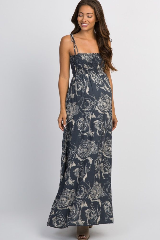 344d4a6dd0a Charcoal Floral Smocked Top Tie Strap Maternity Maxi Dress in 2019 ...