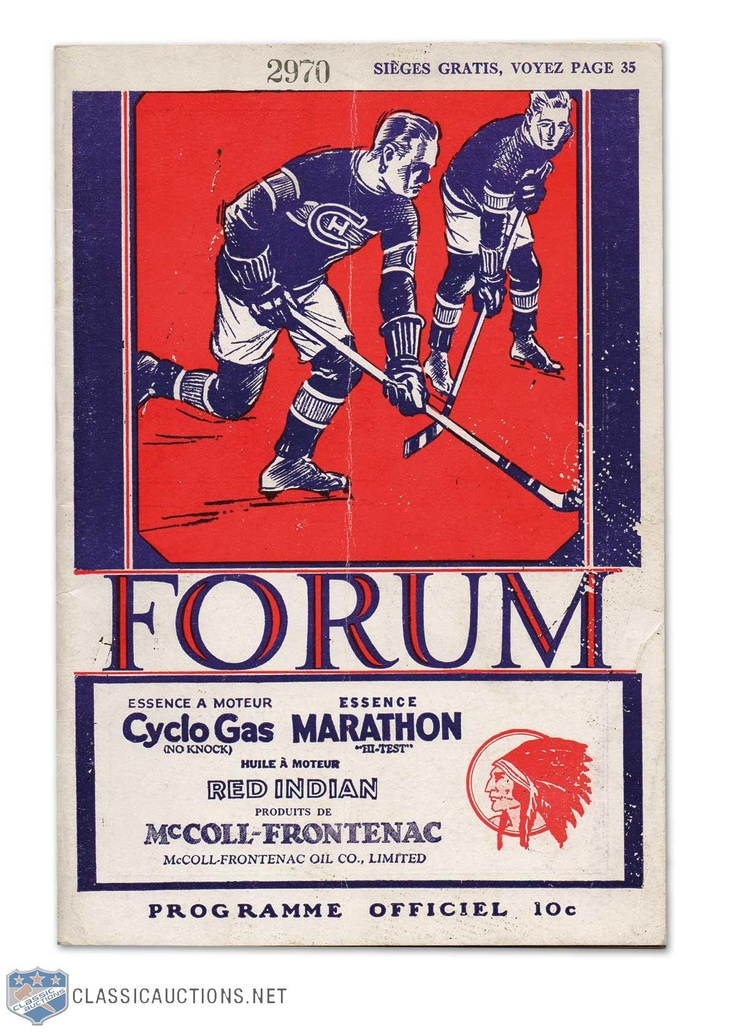 1930-31 Montreal Forum Canadiens vs. Black Hawks Stanley Cup Finals Program