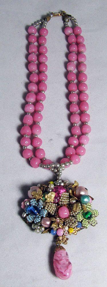 Rare Vintage Miriam Haskell Pink Glass Bead Necklace W/ Pendant #MiriamHaskell