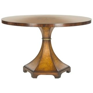 Safavieh Couture High Line Collection Oriel Acacia/ Ash Burl Walnut Round Center Table. Image 1 of 2. The Oriel table is a French Directoire style table. Neoclassic architectural form crafted from acacia wood and ash burl in a light walnut finish. This elegant piece doubles as an entry hall or dining table. [Or as a breakfast room or a library table.] Dimensions:47.2 in. W x 47.2 in. D x 29.8 in. H.