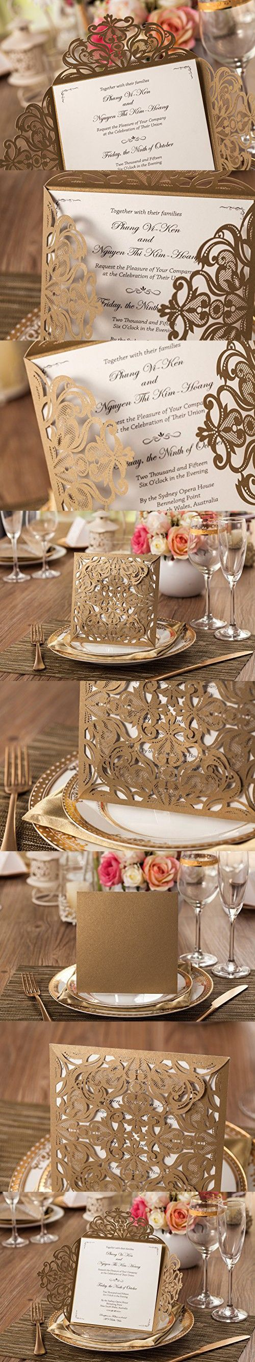 Wishmade 1x Gold Laser Cutting Bronzing Wedding Invitation Cards With Flowers Lace CW519_GO