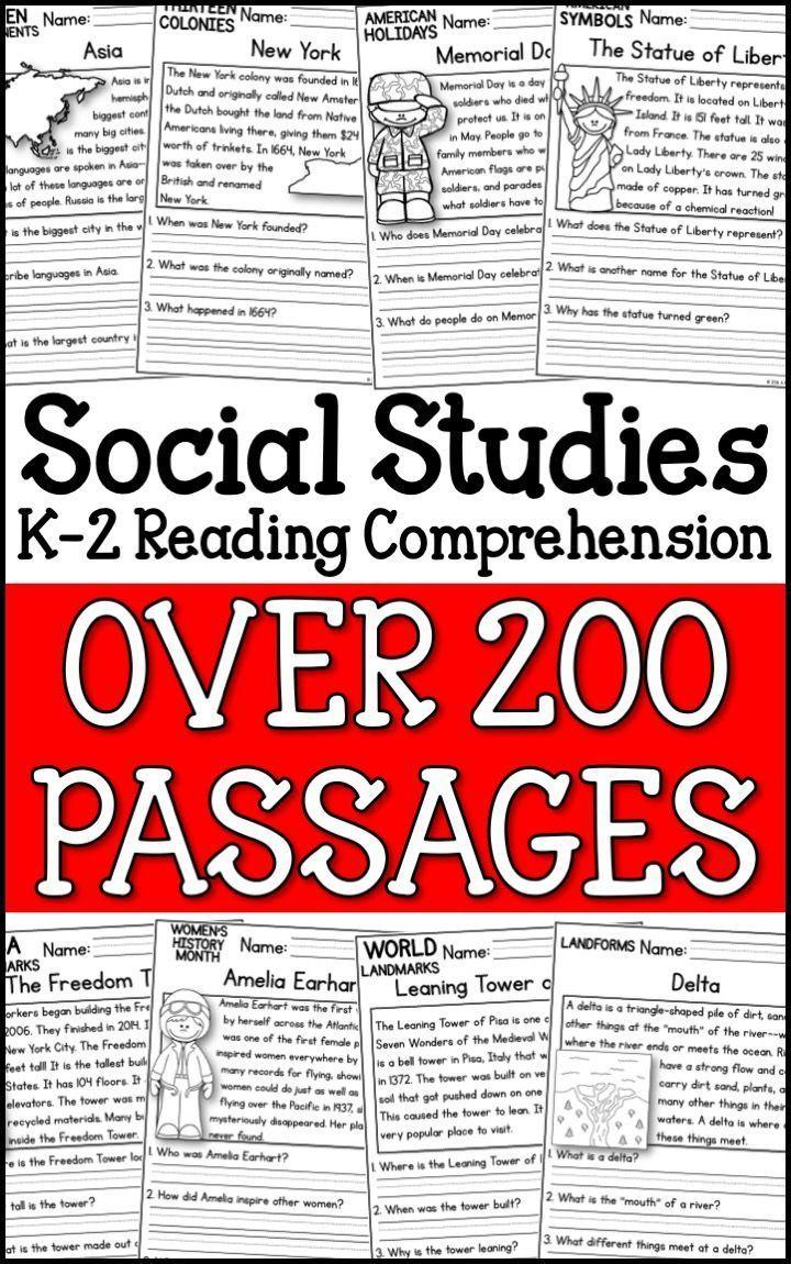 K 2 Social Studies Reading Comprehension Passages Bundle A Page Out Of History Social Studies Worksheets Reading Comprehension Social Studies Elementary [ 1150 x 720 Pixel ]