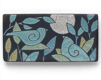Birds, 3x6 ,Ceramic tile, moon,handmade, wall art, home decor, raku fired art tile