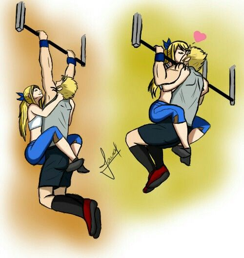 Jamal94 on Deviant Art // Working out Laxus and Lucy!! OTP ❤