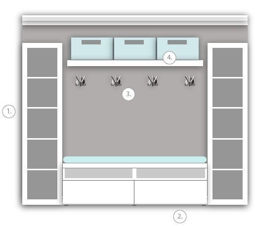 ikea mudroom. 2 expedit bookcases, besta storage with drawers, lack shelf, and mogden triple hooks by elnora