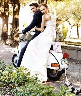Just Married! Wedding Vespa. Wedding photos on Vespas are very popular.