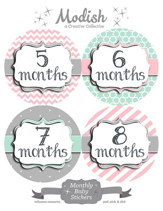 18 Month Stickers: FREE GIFT Pink Mint Baby Month Stickers Monthly Baby