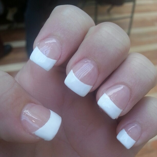 Thick french tip nails love them!