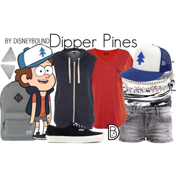 Dipper Pines by leslieakay on Polyvore featuring Warehouse, River Island, LTB by Little Big, Vans, Herschel Supply Co., Domo Beads, disney, disneybound and disneycharacter