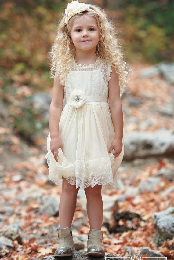 Rustic Country Flower girl lace dress, what a cutie!