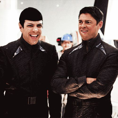 #zachary quinto #karl urban ( repinning because I love this ) Spock your human side is showing