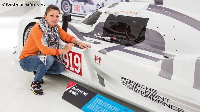 Simona Halep, playing Stuttgart for the first time, visited the Porsche Museum in downtown Stuttgart.