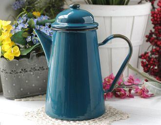 Стальной эмалированный кофейник, 12 см, 1,0 л, цвет: морская волна/чёрный мрамор/оливковый
