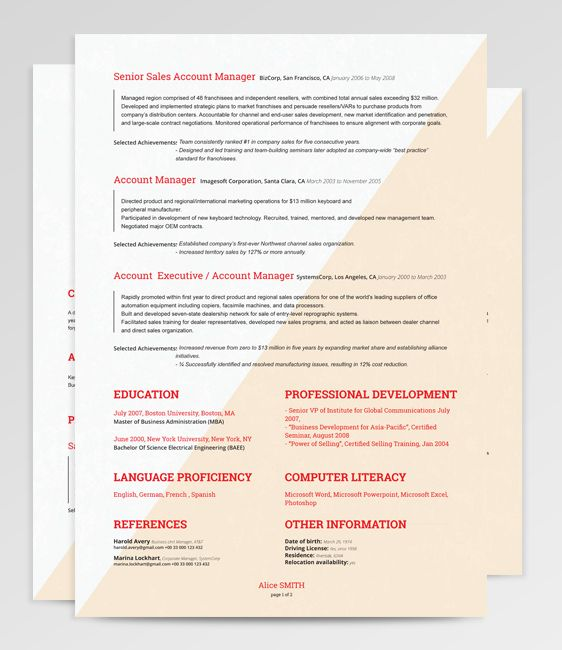 207 best Resume Templates many free images on Pinterest Resume - traditional resume examples