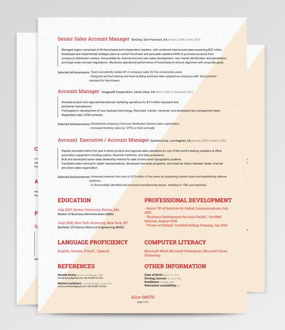 207 Best Resume Templates Many Free Images On Pinterest Resume