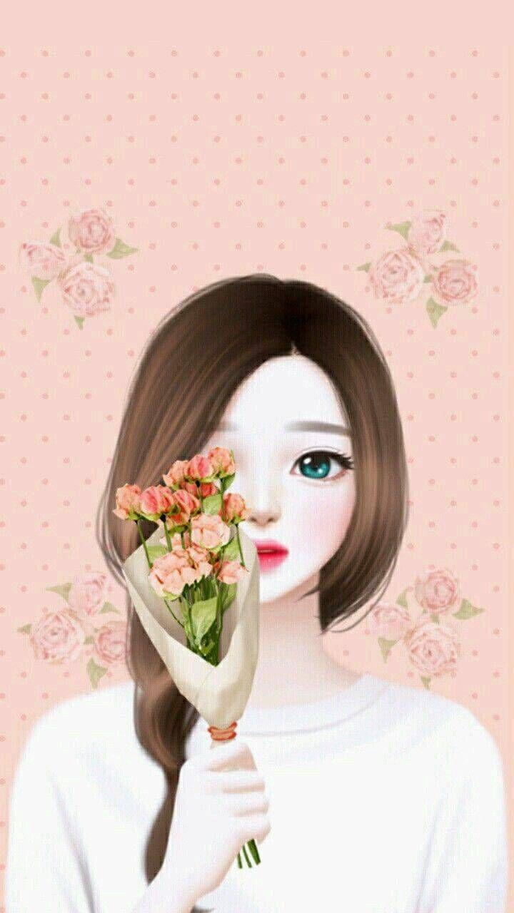 Korean Girl Ilustrasi Lukisan Ilustrasi Ilustrasi Vektor