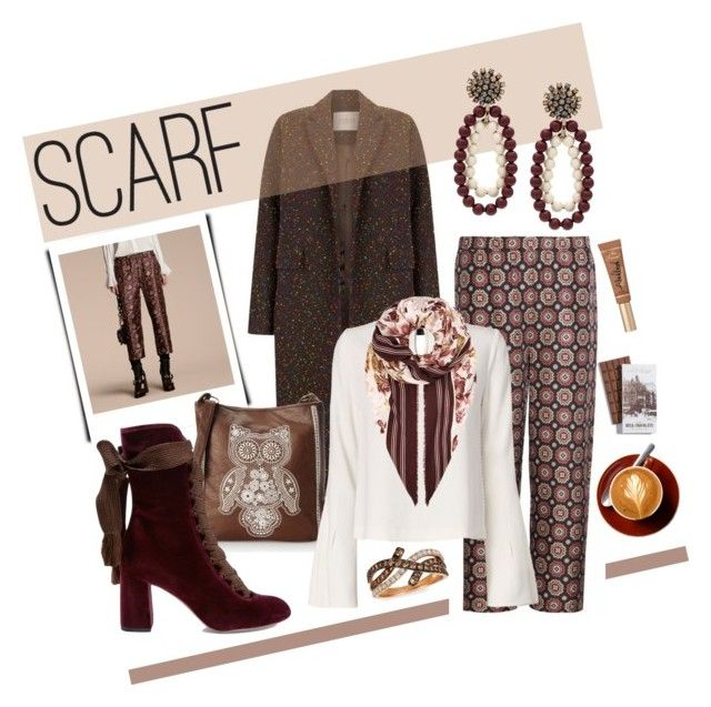 """Winter scarf"" by na-pan ❤ liked on Polyvore featuring The 2nd Skin Co., LeVian, Burberry, T-shirt & Jeans, Jonathan Simkhai, Chloé, Marni and Too Faced Cosmetics"
