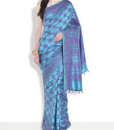 Buy Firozi hand_woven handloom saree with blouse handloom-saree online