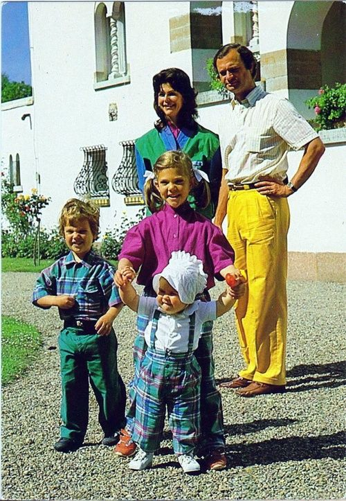 sarahbellar: Swedish Royal Family-1983: Queen Silvia and King Carl Gustaf with Prince Carl Phillip and Crown Princess Victoria helping her little sister Princess Madeleine