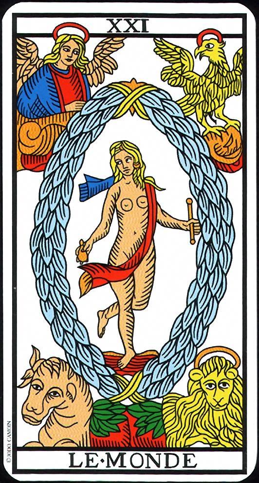 The World - XXI - Major Arcana   Tarot de Marseille (Camoin-Jodorowsky)