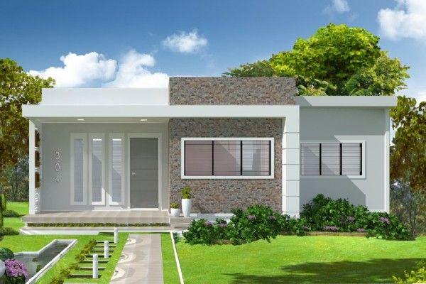 eh!DÉCOR | Projetos e fachadas de casas térrea moderna sem telhado até 100 metros.