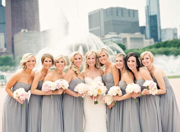 Gray Bridesmaids Dresses | photography by http://www.kinawicks.com/
