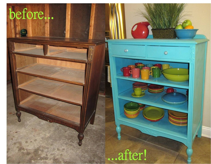 "this old dresser's drawers were too flimsy to bear any weight, so I just made it open shelving for the second love of my life- FIESTAWARE! :) Color: Valspar Signiture : ""Turquoise Tint"""