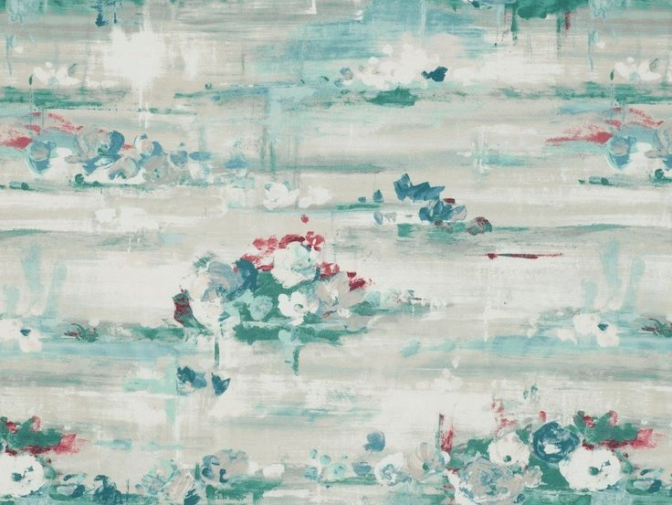Palermo Duck Egg Fabric - A sumptuous modern floral design where the inspiration of an artist's brush strokes are evident with tones harmoniously creating gorgeous texture.