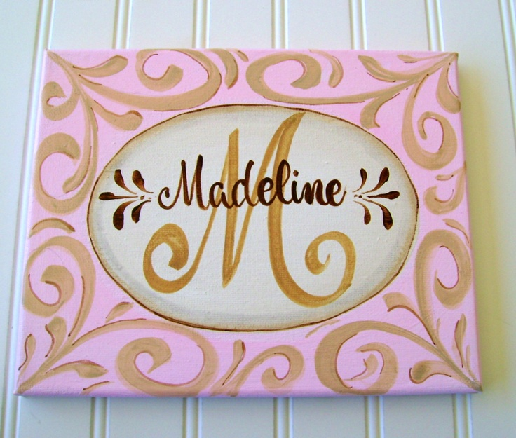 personalized hand painted girls canvas wall art by
