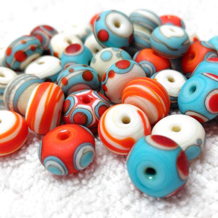 Just made - tumble etched turquoise & orange beads. Told you I was loving this combo!