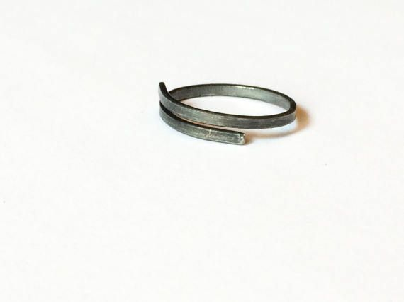 Minimal Iron Ring, Simple Black Ring, Handmade Adjustable Ring, Plain Dark Grey Ring, Metal Rustic Ring, Raw Wire Ring, Unisex Ring