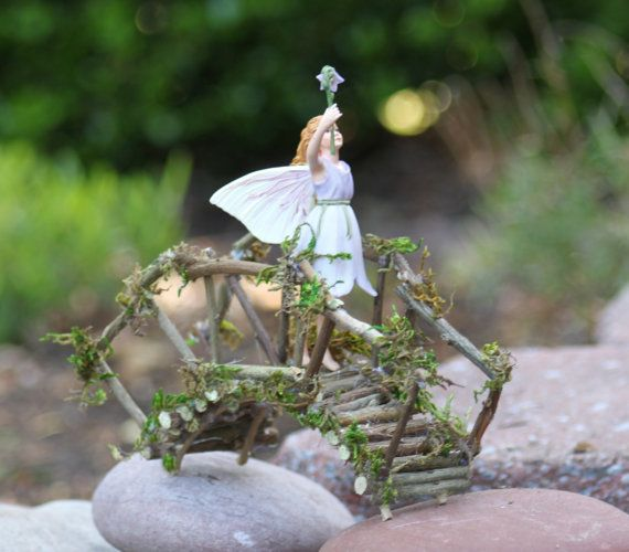 Miniature Bridge, Fairy Garden, Fairy Rickety Bridge Handcrafted by Olive with Harebell Fairy by Cicely Mary Barker, Retired Heirloom Fairy