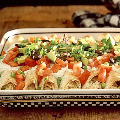 Chicken Enchiladas: Tortillas Chips, Sour Cream, Southern Living, Enchiladas Sauces, Cooking Sprays, Healthy Chicken Enchiladas, Cheesy Chicken, Chicken Enchiladas Recipes, Healthy Enchiladas