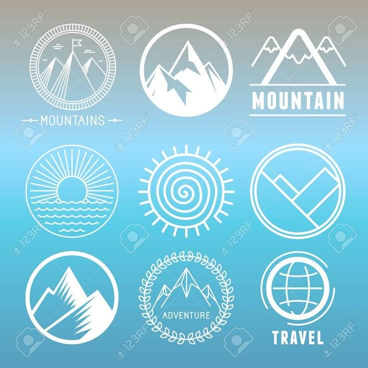 Vector Berg Logos und Embleme im Umriss-Stil – abstrakte Design-Elemente und runde Abzeichen